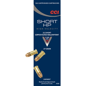 CCI Varmint Ammunition - 22 Short Short HP