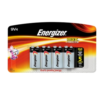 Energizer Max 9V Batteries 4PK