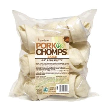 """Pork Chomps 6-7"""" Natural Porkskin Knots 6-Pack"""