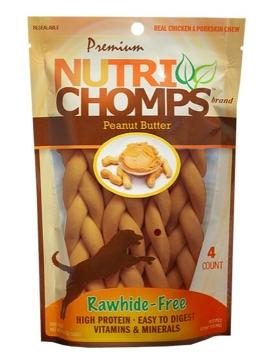 "Nutri Chomps 6"" Peanut Butter Braid 4 Ct."