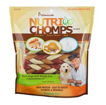 """Nutri Chomp Mixed Flavor 6"""" Braided Bone 10 Ct."""