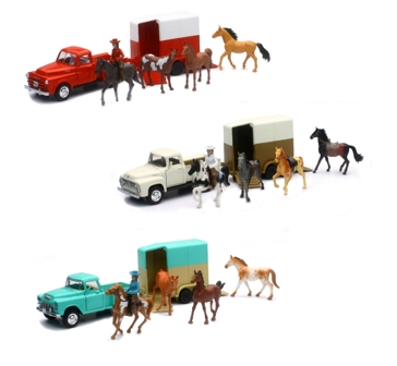 New Ray Valley Ranch Vintage Truck Set with Horse Trailer
