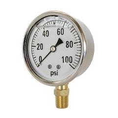 Valley Industries Liquid Filled Pressure Gauge, 2.5