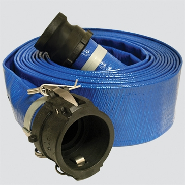 "2"" x 50' Blue Standard-Duty PVC Layflat Discharge Hose Assembly — Polypropylene Cam Lock"