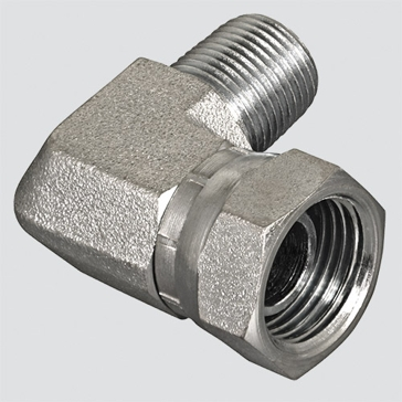 "Apache Style 1501 3/8"" Male Pipe Thread x 1/2"" Female Pipe Thread 90° Swivel Hydraulic Adapter"