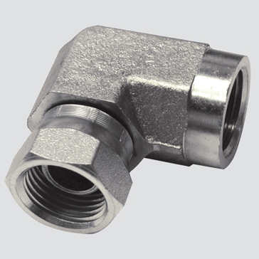 "Apache Style 1502 3/8"" Female Pipe Thread x 3/8"" Female Pipe Thread 90° Swivel Hydraulic Adapter"