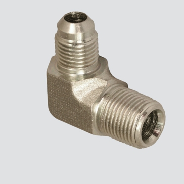 "Apache Style 2501 1/4"" Male JIC x 1/4"" Male Pipe Thread 90° Hydraulic Adapter"