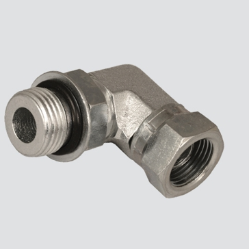 "Apache Style 6901 3/8"" Male O-ring Boss x 3/8"" Female Pipe Thread 90° Swivel Hydraulic Adapter"