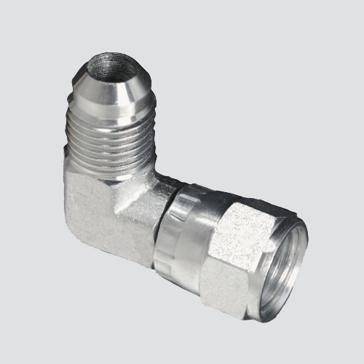 """Apache Style 6500 3/8"""" Male JIC x 3/8"""" Female JIC 90° Swivel Hydraulic Adapter"""