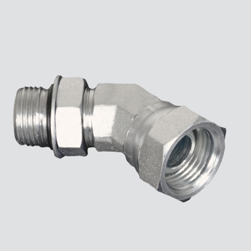 "Apache Style 6902 1/4"" Male O-ring Boss x 1/4"" Female Pipe Thread 45° Swivel Hydraulic Adapter"
