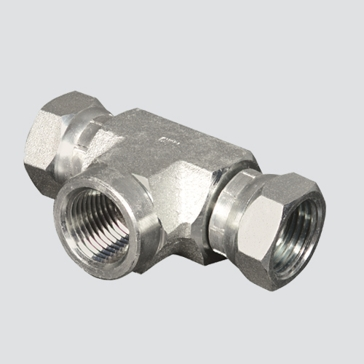 "Apache Style 1602 3/8"" Female Pipe Thread x 3/8"" Female Pipe Thread Swivel Hydraulic Tee Adapter"