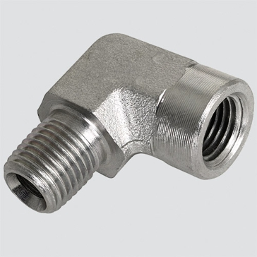 "Apache Style 5502 3/8"" Male Pipe Thread x 3/8"" Female Pipe Thread 90° Hydraulic Adapter"