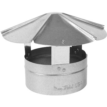 "Gray Metal 6"" Galvanized Roof Cap"