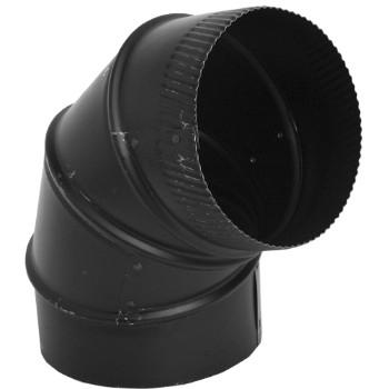 "Gray Metal 24ga Black 6"" 90 Degree Adjustable Stove Pipe Elbow 6-24-602"