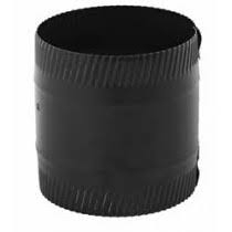 """Gray Metal 6"""" Black Stovepipe Coupler for Ductwork 6x6-606"""