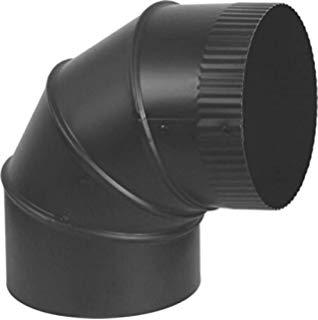 "Gray Metal 7"" Black 24ga 90 Degree Adjustable Stovepipe Elbow 7-24-602"