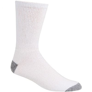 Railroad Sock Mens Crew Socks 6 Pair White with Grey Heel and Toe Size 10-13 6090