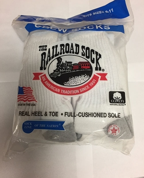 Railroad Mens Cotton Crew Sock - 6 Pack