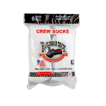 Railroad Mens White Crew Socks - 6 Pack