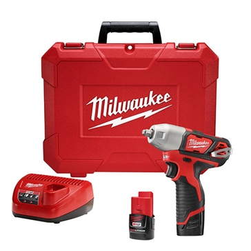 Milwaukee 2463-22 Impact Wrench Kit, 12 V Battery, Lithium-Ion Battery, 3/8 in Drive, Hex, Straight Drive