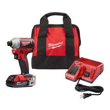 "Milwaukee M18 18-Volt Compact Brushless Cordless 1/4"" Impact Driver Kit"