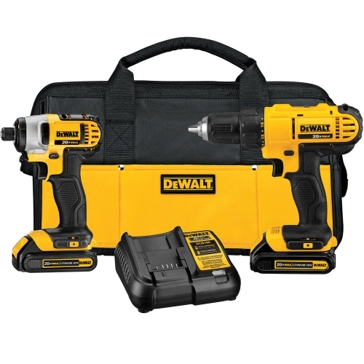 Dewalt 20-Volt MAX Lithium-Ion Cordless Drill/Driver and Impact Combo Kit (2-Tool) with (2) Batteries, Charger and Bag