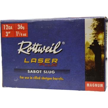 """Rottweil Laser Plus Sabot Slug Magnum 12ga 3"""" 5RD"""