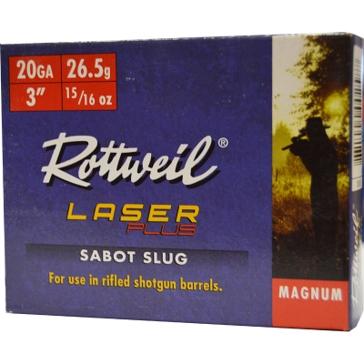 """Rottweil Laser Plus Sabot Slug Magnum 20ga 3"""" 5RD"""
