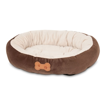 Aspen Pet Oval Bed with Bone Applique Brown 26944