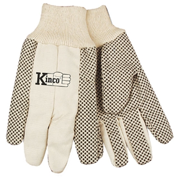 Kinco White Canvas with PVC Dots Gloves - Large