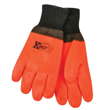 Kinco Lined Orange PVC With Knit Wrist Gloves - Large