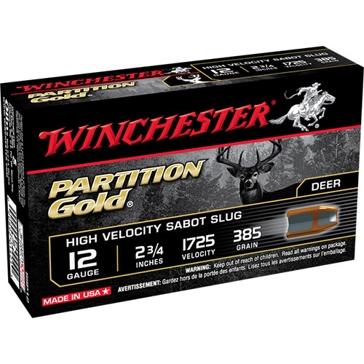 Winchester Partition Gold High Velocity Sabot Slug 12ga 385 GR.
