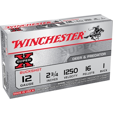 """Winchester Super-X Buckshot 12ga 2-3/4"""" 16 Pellets 1 Buck"""