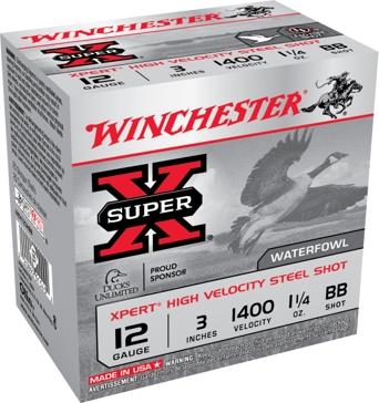 "Winchester Super-X XPert High Velocity Steel Shot 12ga 3"" 1-1/4oz BB-Shot"