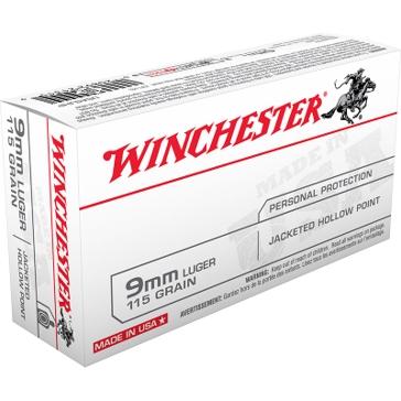 Winchester USA 9mm Luger 115 GR JHP 50RD