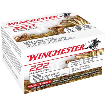 Winchester 222 Rounds 22 LR 36 GR Hollow Point Rifle Ammo