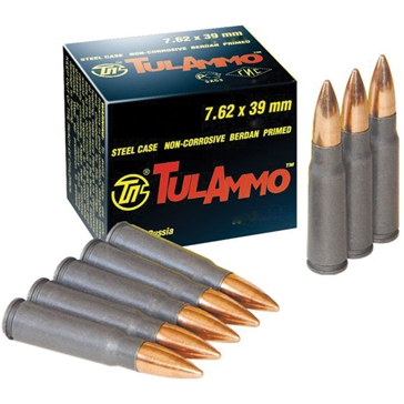 TulAmmo Centerfire Rifle Cartridges 7.62×39mm HP 124 GR 100RD