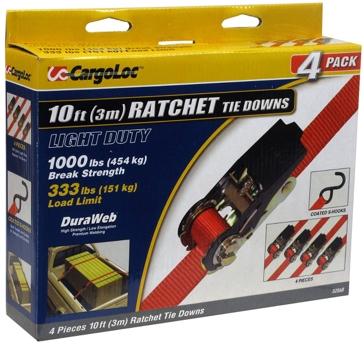 CargoLoc Ratchet Straps- 4 PK.