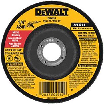 """DeWALT Type 27 High Performance 1/4"""" Metal Grinding Wheel DW4514"""
