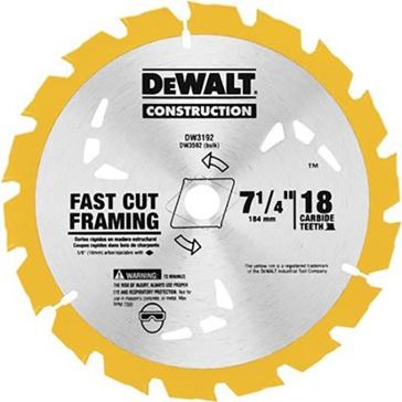 """Dewalt 7-1/4"""" 18T Carbide Thin Kerf Circular Saw Blade DW3192"""