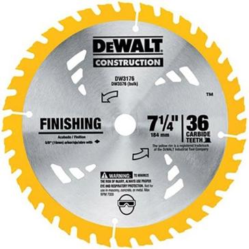 """Dewalt 7-1/4"""" 36T Carbide Thin Kerf Circular Saw Blade DW3176"""