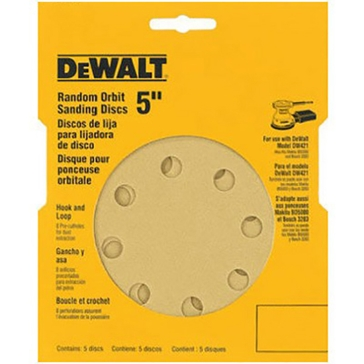 "Dewalt 5"" 8 Hole Assorted Grit Hook and Loop Random Orbit Sandpaper (5 pack) DW4307"