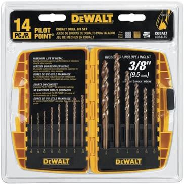 "Dewalt 14-Pc. Cobalt Pilot Point Drill Bit Set up to 3/8"" DW1263"