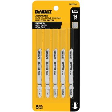"Dewalt 3"" 14 TPI T-Shank Metal Cutting Cobalt Steel Jig Saw Blade (5 Pack) DW3770-5"