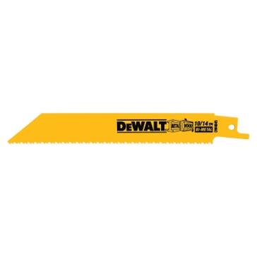 """Dewalt 6"""" 10/14 TPI Straight Back Bi-Metal Reciprocating Blade (5 pack) DW4845"""