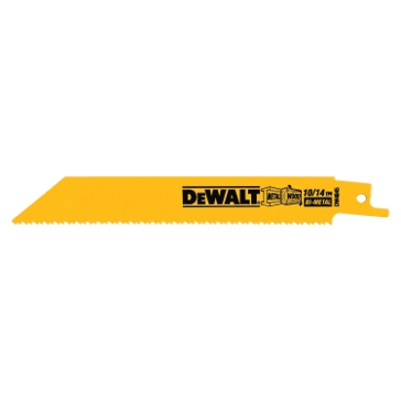"Dewalt 6"" 10/14 TPI Straight Back Bi-Metal Reciprocating Blade (5 pack) DW4845"