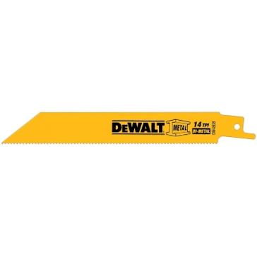 """Dewalt 6"""" 14 TPI Straight Back Bi-Metal Reciprocating Blade (5 pack) DW4808"""