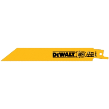 "Dewalt 6"" 18 TPI Straight Back Bi-Metal Reciprocating Blade (5 pack) DW4811"