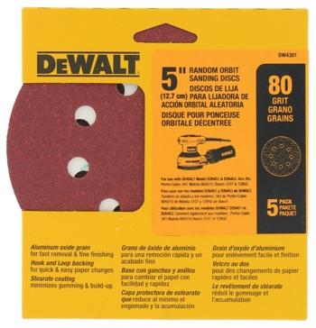 """Dewalt 5"""" 8 Hole 80 Grit Hook and Loop Random Orbit Sandpaper (5 pack) DW4301"""