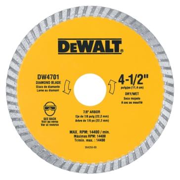 "Dewalt 4-1/2"" XP turbo diamond blade DW4701"